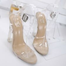 Clear Women's Nude Transparent Block High Heels Ankle Strap Sandals Chic Shoes