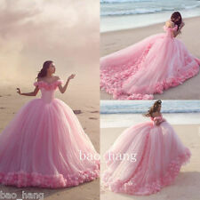 Cinderella Pink Wedding Ball Gown Bridal Dress Flowers Off-shoulder Tulle Skirt