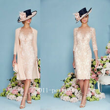 Beads Lace Mother Of Bride Dress Suit Pink Jacket 2 Piece Women Gown Knee length