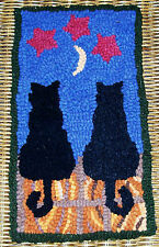 MIDNITE & CHARCOAL CATS Primitive Rug Hooking KIT or PATTERN ONLY