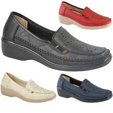 New Ladies Womens Slip On Smart Flat Casual Comfort Wedge Loafers Pumps Shoes UK