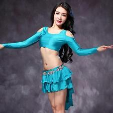 New Arrival Sexy Women Belly Dance Costumes 2pics off shoulder Top & Skirt M L