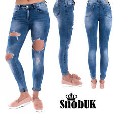 NEW WOMENS DISTRESSED RIP KNEE CUT DISTRESSED SKINNY JEANS UK SIZE 6-8-10-12-14