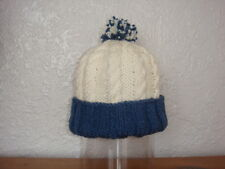 BEIGE/BLUE CABLED HAT WITH TURN BACK RIB 3-4 YEARS