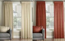 One Pair Of MONTGOMERY Plain Design Chic Pencil Pleat Lined Curtains