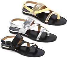 WOMENS GLADIATOR BUCKLE SANDALS NEW FLAT STRAPPY SEQUINED SUMMER BEACH SHOES