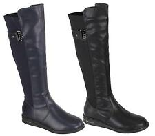 WOMENS LADIES LOW WEDGE HEEL KNEE HIGH MID CALF WINTER RIDING BOOTS SHOES 3-8