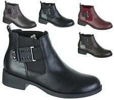 WOMENS LADIES FLAT SLIP ON CHELSEA STRETCH ANKLE BUCKLE SHOE BOOTS UK SIZES 3-8