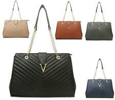 LADIES WOMEN'S QUILTED GOLD CHAIN FASHION CELEBRITY TOTE BAGS SHOULDER HANDBAG
