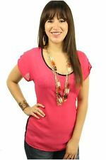 DEALZONE Lovely Chiffon Two Tone Top L Large Women Pink Casual Short Sleeve