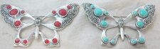 925 STERLING SILVER Marcasite Red Coral or Turquoise BIG Butterfly Brooch
