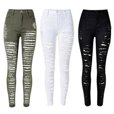 NEW WOMENS LADIES SKINNY RIPPED JEANS STRETCHY DENIM JEGGINGS 4/6/8/10/12/14