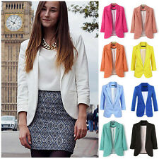 2017 Casual Slim Solid Suit Blazer Jacket Coat Women Fashion Candy Color Newest