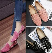Punk Women Punk Chunky Spike Studded Leopard Oxford Pumps Leather Shoes Loafers