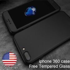 360 Full Body Hybrid Protective Case Cover+Tempered Glass for iPhone 6 5s 7 Plus