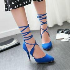 Women's High Heels Fashion Roman Gladiator Strappy Pointy Toe Suede Shoes Size Y