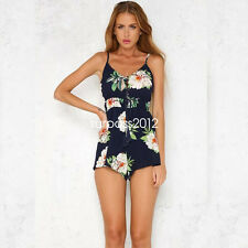 Boho Summer  Print Button Spaghetti Strap Playsuits Jumpsuits Womens Rompers