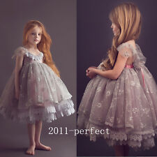 2017 Gray Lace Flower Girl Dress Communion Party Prom Princess Pageant Wedding