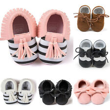 Infant Newborn Toddler Tassel Soft Sole Baby Boy Girls Leather Crib Shoes
