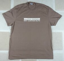 """Novelty T-Shirt """"Allergy Warning - May Contain Nuts"""" Chocolate Brown 2XL/XXL"""