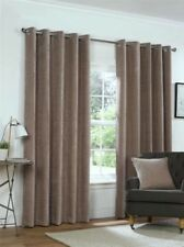 PLAIN CHENILLE MINK BEIGE LINED RING TOP EYELET CURTAINS 4 SIZES