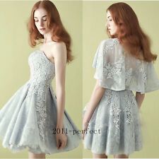 2017 New Cocktail Dresses Formal Prom Party Short Gowns Custom Lace Dress+ Cape