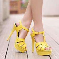 Womens High Heel Peeptoe T-strappy 7 Colors Platform Cut Out OL Pump Sandals Y