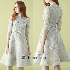 2017 Elegant Gray Short Dresses Sexy Lace Formal Prom Dress Party Gown Custom