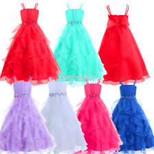 Girls Organze Tulle Dress Pageant Wedding Bridesmaid Princess Party Ball Gown