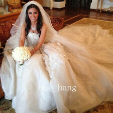 Princess Strapless Wedding Gowns Appliques Crystals Beads Cathedral Bridal Dress