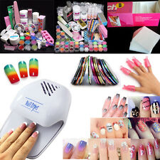HOT Pro Glitter Color Powder Liquid Brush French Nail Art Deco Tips File Set Kit