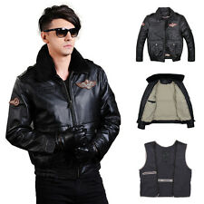 Men 2in1 Classic Motorcycle Genuine Cowskin Leather Airborne Jacket Flight Coats