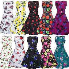 Womens Sleeveless 50s Rockabilly Vintage Retro Pin Up Cocktail Party Swing Dress