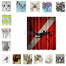 Extra Long Fabric Bath Shower Curtain with 12 Hooks Bathroom Use 15 Patterns