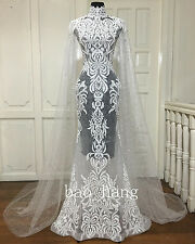 Sheath Wedding Dress With Long Cape High Neck See Though Bridal Gown Lace Beaded