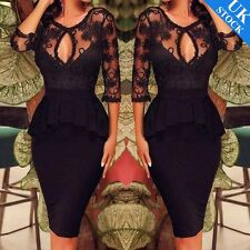 UK Plus Size 8-20 Womens Lace Bodycon Peplum Cocktail Party Evening Pencil Dress