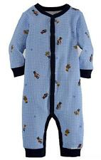 NWT GENUINE RALPH LAUREN BABY BOYS BEAR PRINT GINGHAM COTTON COVERALL 12M