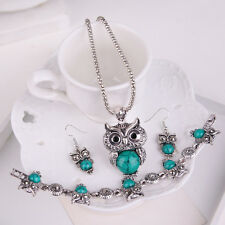 Inlaid Turquoise Owl Pendant Necklace Earrings Bracelet Jewelry Set Lovely