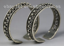 Tribal exotic ethnic chinese handmade miao silver bracelet (pair)