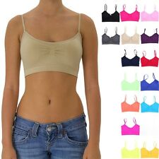 Seamless Spaghetti Strap Padded Ruched Front Bralette Casual Easy Wear ONE SIZE