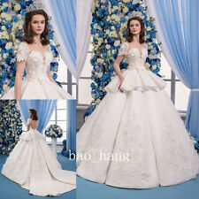 White Ivory Princess Wedding Ball Gown Flower Applique Beads Bridal Dress Empire