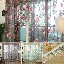 200cm/250cm Flower Tulle Voile Window Curtain Drape Panel Sheer Valance