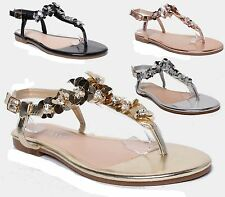 LADIES FLAT TOE POST WOMENS SEQUIN DIAMANTE HOLIDAY DRESSY PARTY SANDALS SIZE