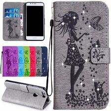 Lovely Girl Rhinestone Flip Wallet Leather Card Cell Case Cover For Huawei Phone