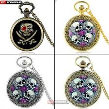 Steampunk Skull Pocket Watch Chain Quartz Necklace Pendant Antique Skeleton Gift