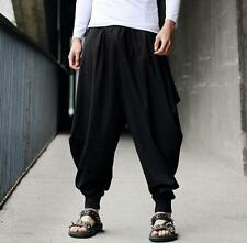 Cotton Linen Mens Harem Baggy Pants Japanese Loose Casual Style Boho Trousers