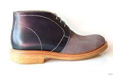 NIB $495 mens FACONNABLE navy leather gray suede dress BOOTS shoes Italy 44 11
