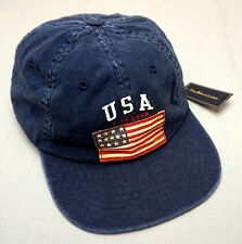 NWT $45 POLO RALPH LAUREN Navy Blue American Flag HAT CAP BALL Mens