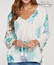 NWT Boutique Lovestitch Watercolor Floral Long Sleeve Blouse  Small Medium Large