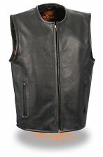 Mens Black Leather Biker Vest, Zipper Front, Collarless, Seamless for Patches